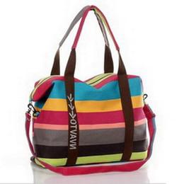 Chinese Wholesale-2016 hot sale colors stripe big canvas women handbag  fashion High capacity Travel c74330c2f0