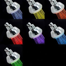 Wholesale Shower Head For Wall - 22cr2 Colorful Discoloration No Battery LED Shower Head Glowing Temperature Control Bathroom Small Showers Heads For Home Hand Held