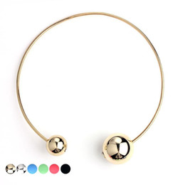 Wholesale Ball Chain Costume - 2016 Fashion Double Faced Acrylic Ball Necklace Women Classic Crystal Imitation Pearl Beads Costume Jewelry Bijoux Party Gifts