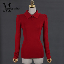 Wholesale Puff Sleeve Sweater White - Wholesale-Plus Size Women Sweaters And Pullovers Autumn Winter 2016 New Arrival Knittted Sweater Ladies Christmas Sweater Red Black White