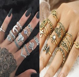 Wholesale Gold Crystal Elephant Jewelry - 13 pcs Set Midi Rings Set Antique Gold Silver Color Knuckle Finger Ring Crystal Hollow Flower Elephant Fatima Hand Moon Jewelry AA336