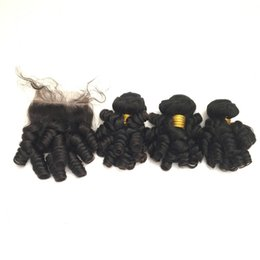 Wholesale Mongolian Baby Curl Hair - 8A Baby Curl Lace Closure Free Part 4x4 With 3 Bundles Brazilian Peruvian Indian Malaysian Virgin Human Hair Weaves Natural Color 10-26 inch