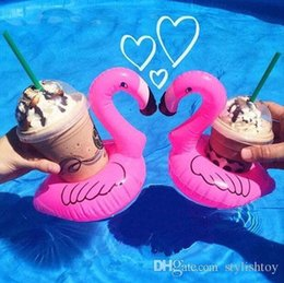Wholesale Toys Animes - Mini Inflatable Flamingo Drinks Cup Holder in Style Pool Floats Bar Coasters Floatation Devices Children Bath Toy