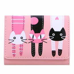 Wholesale Cute Lovely Photos - Wholesale- 2017 New Women Wallet Girls Mini Lovely Purse Cute Cats Printing Clutch Bifold PU Leather Wallet Card Holder Zipper Short Wallet
