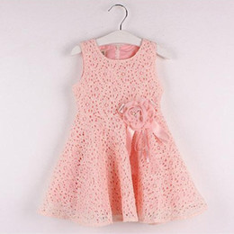 Wholesale Knee Length Mini Dress - children girls vestidos 2016 newest floral pink layered tulle tutu lovely princess party sundress girls dress hot selling killing price