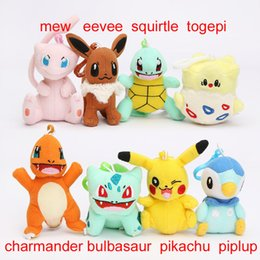 Wholesale togepi plush toy - 8styles Pikachu plush Bulbasaur Charmander Piplup Squirtle Eevee Mew Togepi plush stuffed pendant doll toy with hook