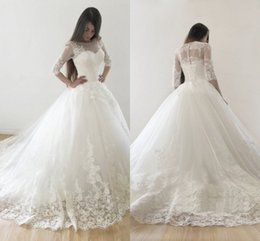 Wholesale Long Sleeved Dresses Cheap - Ball Gown Wedding Dresses Sheer Neck 3 4 Long Sleeved Appliques Tulle Cheap Wedding Gowns Beach Bridal Dresses Chapel Train