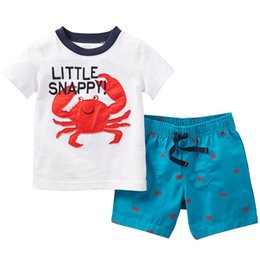 Wholesale Crab Baby Clothes - 2017 New Boy Summer INS Crab set suits children beach Cartoon stripe Short sleeve T-shirt +shorts 2 pcs set suits baby clothes B