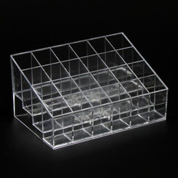Wholesale Transparent Nail Display - Hot Fashion 1 Pc 24 Cube Lipstick Holder Nail Polish,Lip Gloss Makeup Bracket Cosmetics Display Stand Storage Props Good Quality