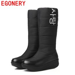 Wholesale Ladies Shoes Size 44 - Wholesale-EGONERY 2017 winter new come lady snow boots women winter fashion warm shoes woman knee high fur boots plus size 44 CN woman