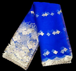 Wholesale Cheap Lace Scarves - wholesale Embroidery Africa Paris tulle lace wedding dresses fabrics tweed scarf stripe cheap silk lace fabrics costura patches B658