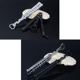 Wholesale Practice Balisong - Bottle Opener - Stainless Steel Practice Butterfly Balisong Knife Style Trainer Tool - Metal Beer Bar Supplies Black Silver