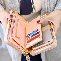 Wholesale Cellphone Clutch - Purse wallet female famous brand card holders cellphone pocket gifts for women money bag clutch