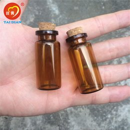 Wholesale Wholesale Tiny Glass Bottle Vials - 22*50*12.5mm 10ml Amber Glass Bottles with Cork Empty Tiny Jars Cute 10ml Glass Corks Bottles Vials 100pcs Free Shipping