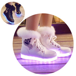 Wholesale Quilted Boots - Wholesale- 2016 New Luminous Shoes Women High Top Rabbit Fur Quilted Boots USB Rechargeable Led Shoes Black Winter Snow Shoes