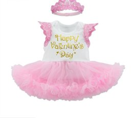 Wholesale Girl Tutu Wing - 2017 new arrivals baby girl Valentine's Day series wing romper 2 pieces set high quality cotton kids Sleeveless romper+headband set 0-2T