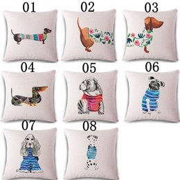 "Wholesale Office Chair Back Pillow - Square 18"" Cotton Linen Cute Dachshund Dogs Office Chair Back Waist Cushion Cover Fashion Couch Seat Pillow Case"