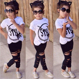 Wholesale 3t Leopard Leggings - Fashion Kids Girls Clothes Set Girl Summer Short Sleeve T-Shirt and Hole Pant Leggings 2 PCS Outfits