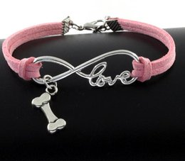 Wholesale Dog Bone Accessories - 10pcs Vintage Silver Love Infinity Dog Bones Charms Bracelet Bangle For Women Mixed Color Velvet Rope Bracelet Jewelry Gifts Accessories