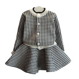Wholesale 2t Sweater Dress - Girls Knitted Suit Children Long Sleeve Kids Clothing Sweater Dress Cardigan Skirt Two Piece Single Row Buckle Skirt Baby Girl Clothes