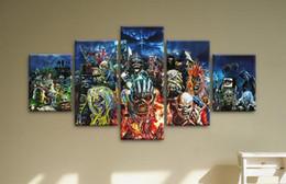 Canada Impression HD 5 pièces de toile art fer vierge fille lourde en métal affiche crâne affiche impression sur toile peinture décor à la maison livraison gratuite Offre