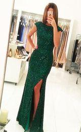 Wholesale Sleeveless Sheath - Elegant Prom Dresses 2017 Sheath Long Evening Gowns Cap Sleeves Split Party Dresses Floor Length Vestido De Festa