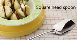 Wholesale Cute Stainless Steel Spoon - Creative square head 410 stainless steel dessert spoon teaspoon cute child personality ice cream spoon support custom and wholesale