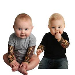 Wholesale Tattoo V - Wholesale baby clothes baby tattoo romper long sleeve boys romper infant toddlers soft cotton climb bodysuit