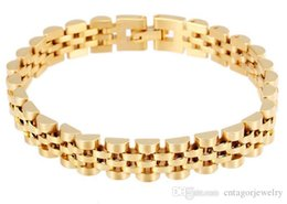 Wholesale 18k Gold Plated Watches - Watch Band Style 10mm Width 316L Stainless Steel 18K Gold Plated Wristband Link Lady's Luxury Elegency Bracelet,Free Gift Shipping