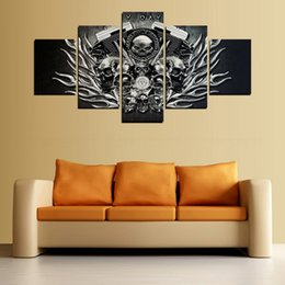 Wholesale Metal Art Wall Panel - New Metal Skull Canvas Painting 5 Pieces No Frame Print Poster Pictures For Home decor Wall Art Room Sticker Painting