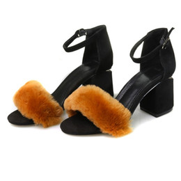 Wholesale Ankle Shop - Australia Sheep Wool High Quality Women Shoes Bohemia Mid Heels Sandals Leisure Open Toe Shoes For Ladies Shopping