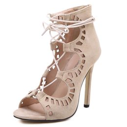 Wholesale Zip Up Ties - Summer Women Pumps Lace Up Strappy Open Toe High Heels Hollow Out Ankle Summer Boots High Heel Sandals Wedding Zapatos 11 cm Heel