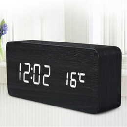Wholesale Multifunctional Cable - New Digital Alarm Clock Numeral Wooden LED Time Temperature Calendar Sound Control Thermometer Multifunctional &Fashionable with USB cable