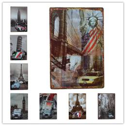 Wholesale Liberty Homes - Eiffel Tower Statue of Liberty Big Ben Car Metal sign home Bar Pub Hotel Restaurant Coffee Shop home Decorative Retro Metal Poster Tin Sign