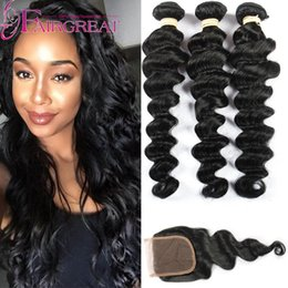 Wholesale 18 Inch Wig - Peruvian Loose Wave Human Hair With 4*4 Lace Closure No Shedding Cheap Peruvian Hair Loose Wave Human Virgin Hair With Lace Closure