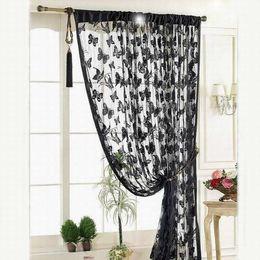 Wholesale Sheer Curtains Tassels - Wholesale-New Luxury Sheer Door Window Curtains for Kitchen Living Room Divider Strip Tassel Butterfly Pattern Bedroom Window Curtains