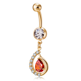 Wholesale Navel Rings Gold - AAA+ Clear Crystal Cluster White Red Champagne Zircon CZ Teardrop 18K Yellow Gold Plated Piercing Navel Belly Button Ring for Party