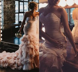 Wholesale Sweetheart Strapless Mermaid Wedding Dresses - 2018 Blush Pink Beach Wedding Dresses Mermaid S Sweetheart Sweep Train Bridal Gowns With Rullfles Tiered Organza Backless Plus Size