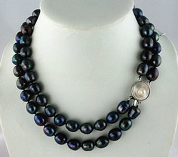 Wholesale Earrings Baroque Pearls - HUGE surprising AAA south sea 11-13mm black baroque pearl necklace