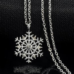 Wholesale Gold Crystal Snowflake Charm - Fashion Charms lady Crystal Snowflake Zircon Flower Silver Plated Necklaces & Pendants Jewelry for Women Sweater necklace