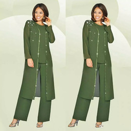 Wholesale Mother Groom Outfits - Green Plus Size Mother Of The Bride Pants Suit With Long Jacket For Weddings Mother's Groom Outfit Beads Wedding Guest Dress