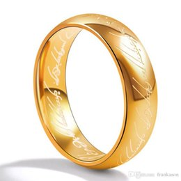 Wholesale Gold Fashion Rings Men - Stainless Steel Lord of the Rings Gold Color Titanium Steel Rings Women Men Fashion Personalized Ring Jewelry
