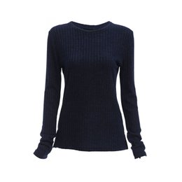 Wholesale Collar Designs Sweaters - Trendy Round Collar Long Sleeve Back Bandage Design Knitted Pure Color Sweater for Ladies