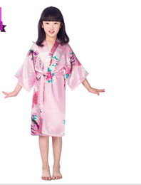 Wholesale Long Silk Satin Nightgowns - Wedding Party Kids Robes Children's Nightgown Thin Imitation Silk of Summer Clothes Japanese Cardigan Printed Peacock Robe