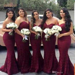 Wholesale Sweetheart Mermaid Style Long Dresses - 2017 Burgundy Mermaid Lace Country Style Bridesmaid Dress Sweep Trian Maid of Honor Dress Wedding Guest Gown Custom Made Plus Size