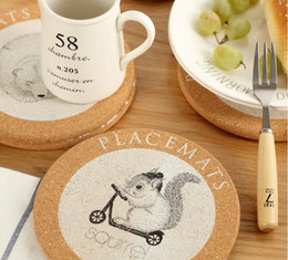 Wholesale Tea Cups Animals - Visual Touch Cute Animal Cork Drink Coaster Retro Style Coffee Cup Mat Tea Pad 4 Style Table Decoration