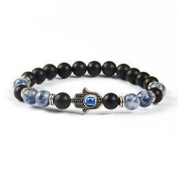 Wholesale Hamsa Bead Bracelets - New Arrival Mens Beaded Jewelry Wholesale 8mm Matte Agate, Sodalite Jasper Stone Beads Protection Hamsa bracelets