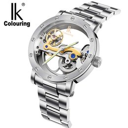 Wholesale Mechanical Hollow Sided - Wholesale- IK colouring automatic mechanical watch double-sided hollow steel tide male table 50 meters waterproof men's watches