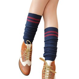 19dc1d13684e6 Wholesale- Fover 21 New College Style Thigh High Socks Over The Knee Girls  Womens Free Shipping Wholesale