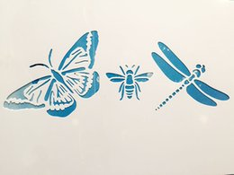 Wholesale Laser Glasses Green - Wholesale- Butterfly Dragonfly Bee Scrapbooking tool card DIY album masking spray painted template laser drawing stencils 673105